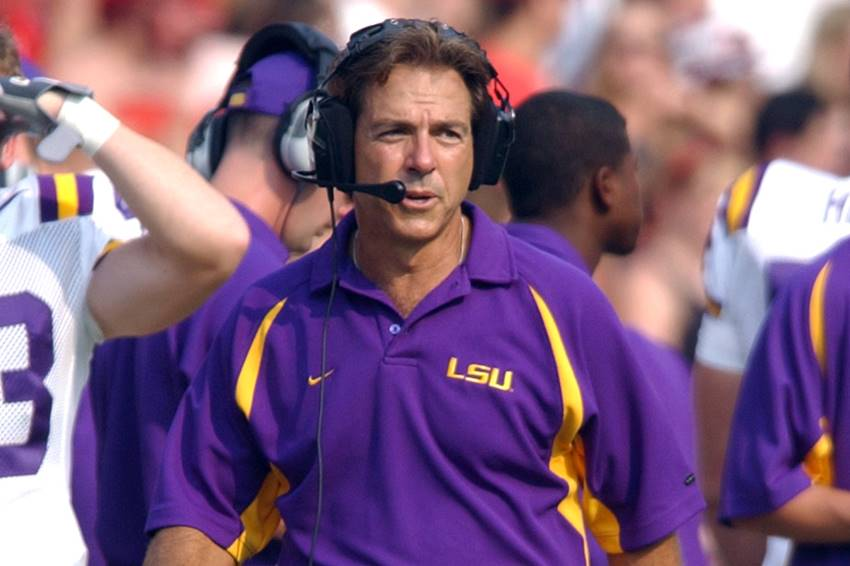 Nick Saban LSU coach sideline