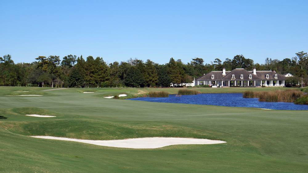 TPC Louisiana: Hole 18 Fairway to Green - Clubhouse