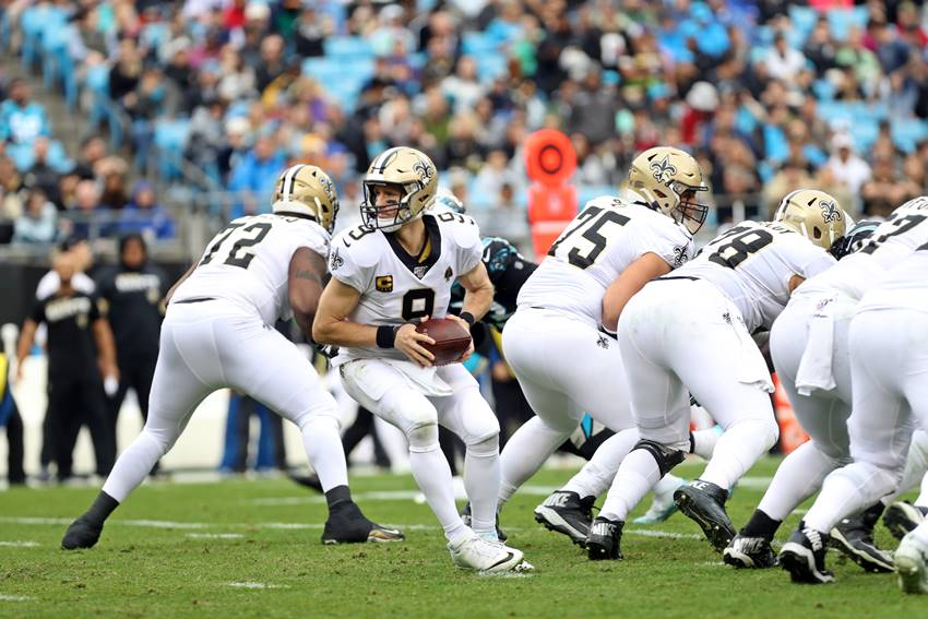 Saints offensive line at Panthers 2019