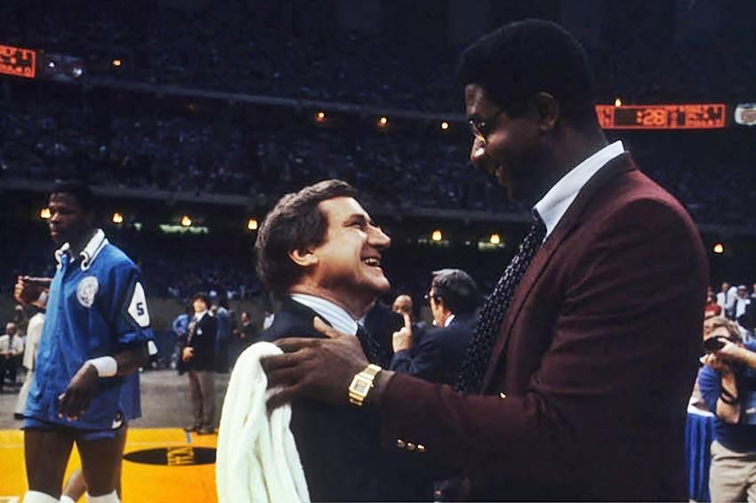 Dean Smith, John Thompson in 1982