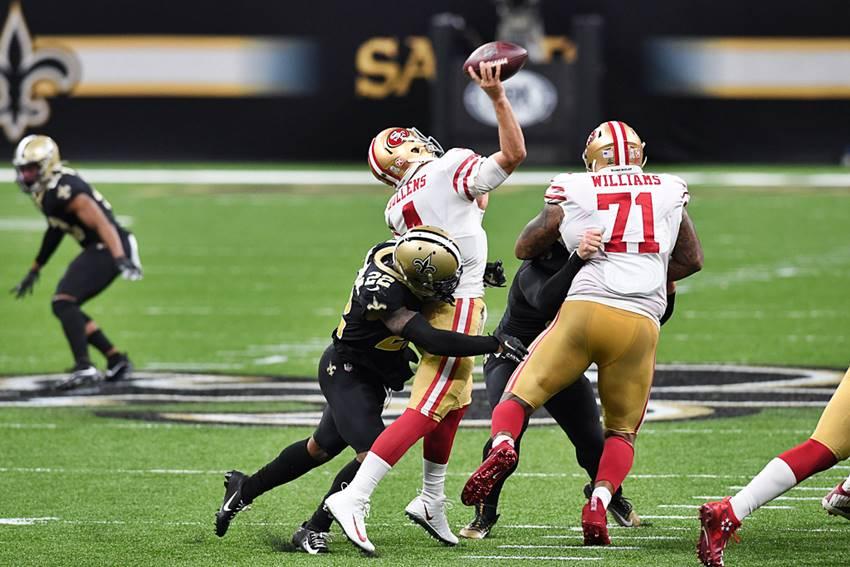 Saints DB CJ Gardner-Johnson hit 49ers QB Nick Mullens