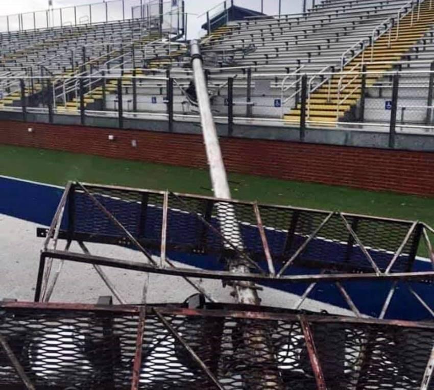 Sulphur football stadium damage