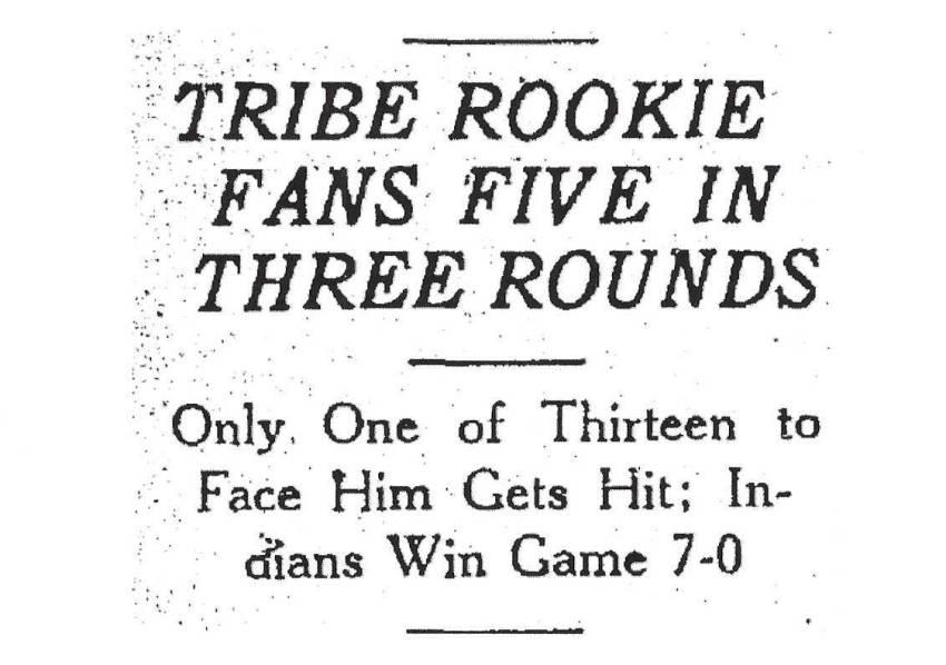 Feller fans five Headline - March 18, 1937