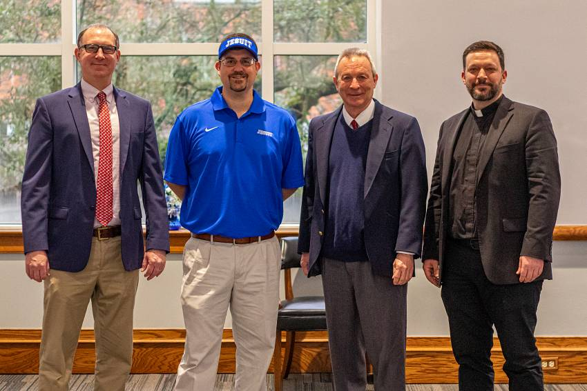 Peter Kernion, Ryan Manale, David Moreau, Fr. John Brown, S.J.