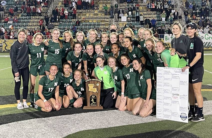 Newman girls soccer state champions
