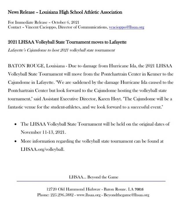 LHSAA moves Volleyball finals to Cajundome